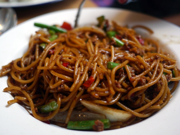 stir fried spaghetti pork at rosa's cafe carnaby street
