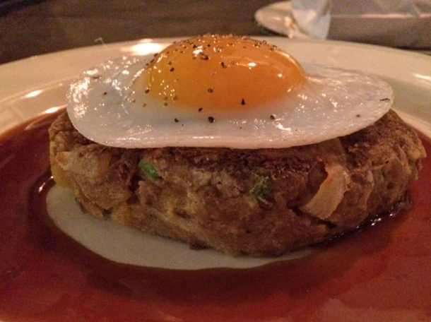 beef hash with duck egg at q grill