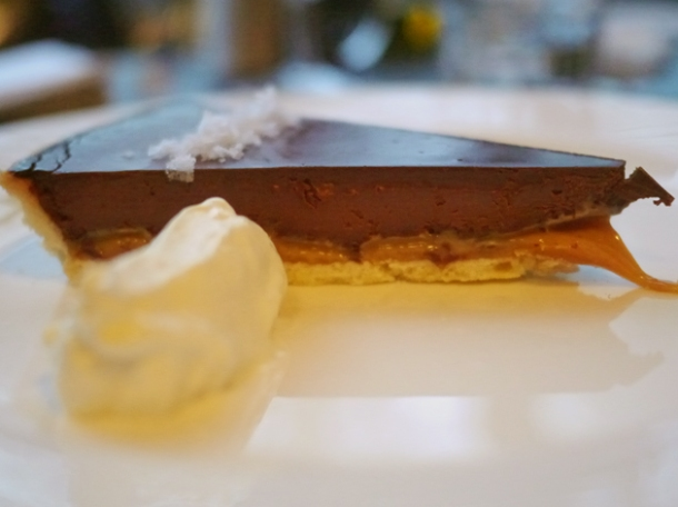 chocolate and salted caramel tart at 8 hoxton square