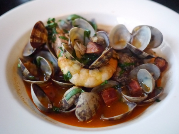 clams, chorizo and prawns in fino at 8 hoxton square
