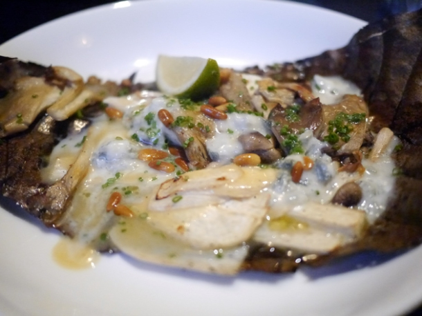 grilled mushrooms with gorgonzola and pine nuts at kurobuta marble arch