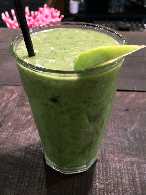 kale, avocado and apple smoothie at q grill