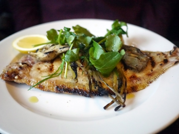 lemon sole with artichokes at 8 hoxton square