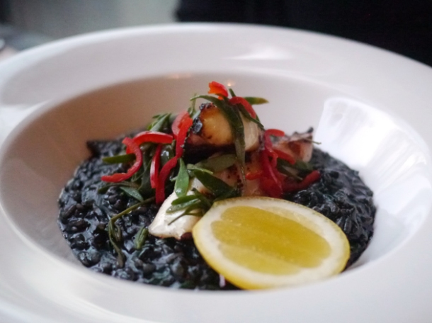 octopus and risotto nero at 8 hoxton square
