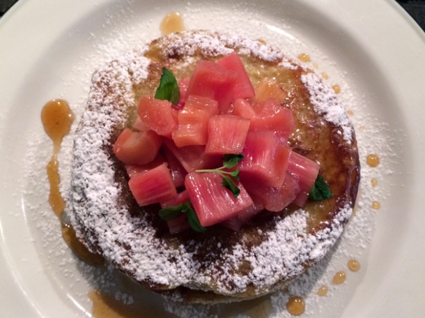 pancakes with rhubarb at q grill