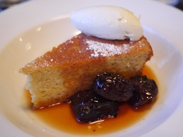 polenta cake in marsala sauce with prunes and mascarpone at 8 hoxton square