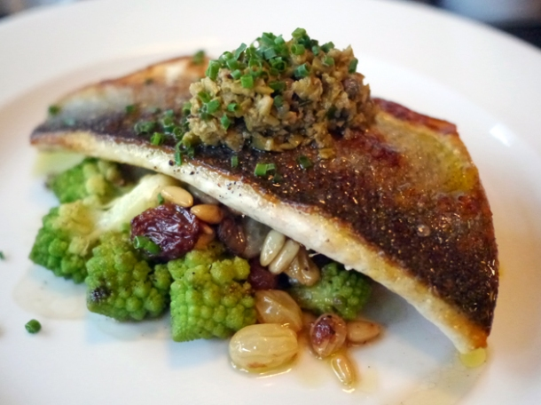 sea bass with romanesco at 8 hoxton square