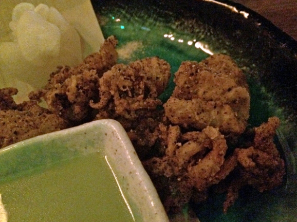 squid karaage at kurobuta marble arch