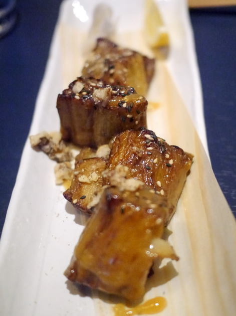 sticky miso grilled aubergine at kurobuta marble arch