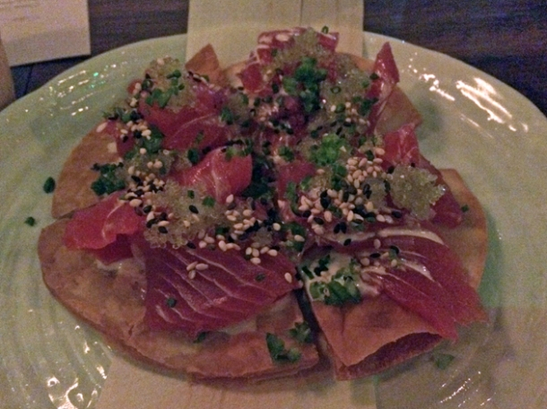 tuna sashimi pizza at kurobuta marble arch