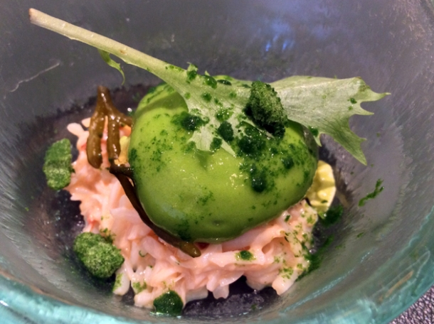 crab with lettuce and seaweed at fera at claridge's