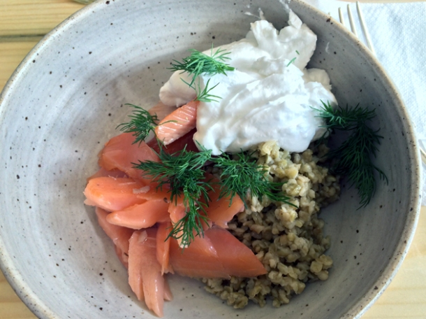 hot smoked trout with coconut yoghurt and freekeh at rawduck