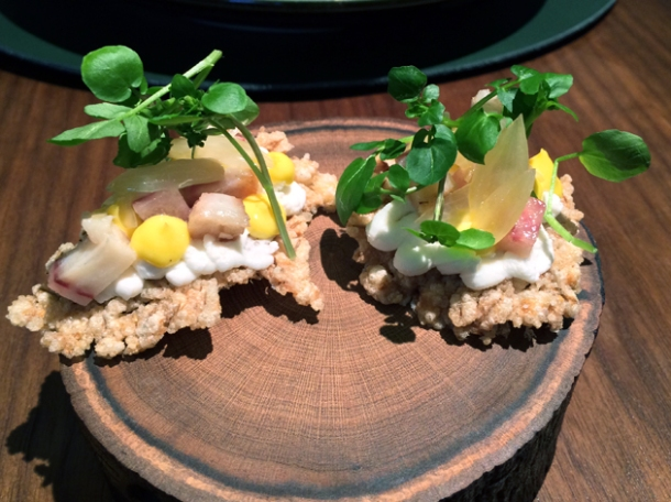 puffed barley, smoked eel and watercress at fera at claridge's