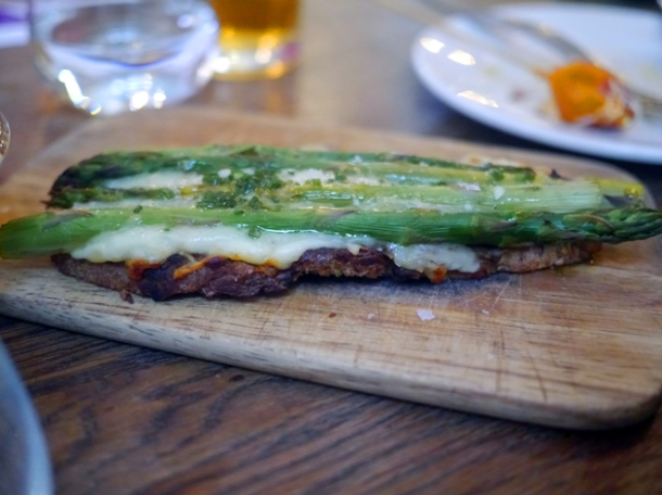 asparagus and manchego cheese on toast at iberica marylebone