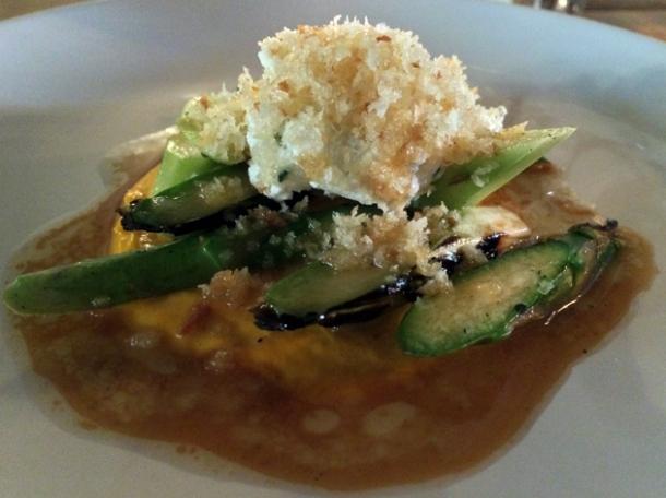 asparagus, ricotta, carrot mayonnaise with pork juices at heirloom crouch end