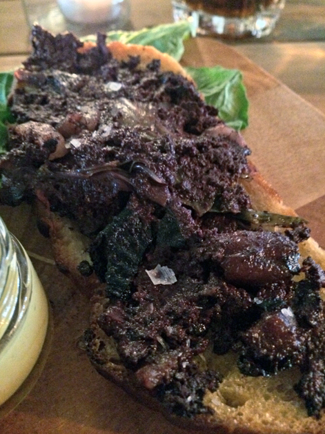 black pudding on toast at heirloom crouch end