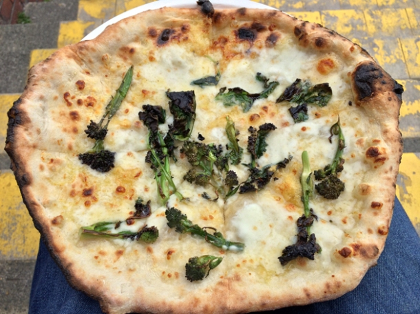 blue cheese and wild broccoli pizza from peel & chimney