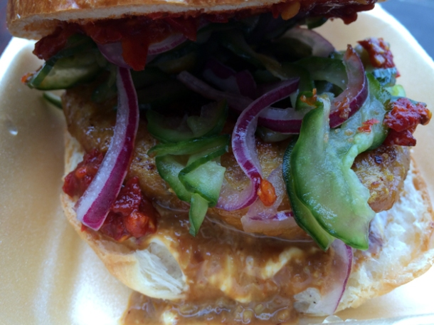 chicken satay burger from sambal shiok