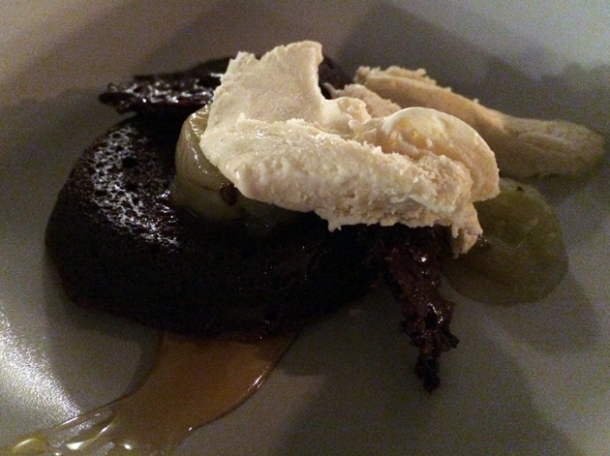 chocolate ganache with lavender ice cream, hazelnut and gooseberries at heirloom crouch end