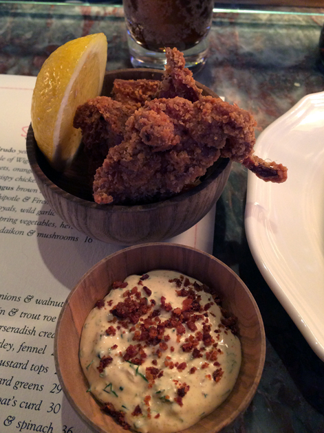 fried chicken with ranch dressing at chiltern firehouse