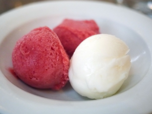 lemon and raspberry sorbets at iberica marylebone