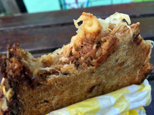 pulled pork and mac and cheese sandwich from grill my cheese