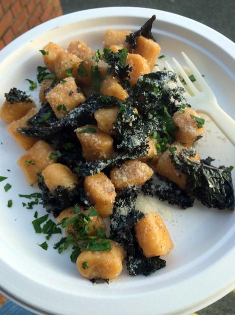 pumpkin gnocchi with kale in truffle oil from pasta e basta