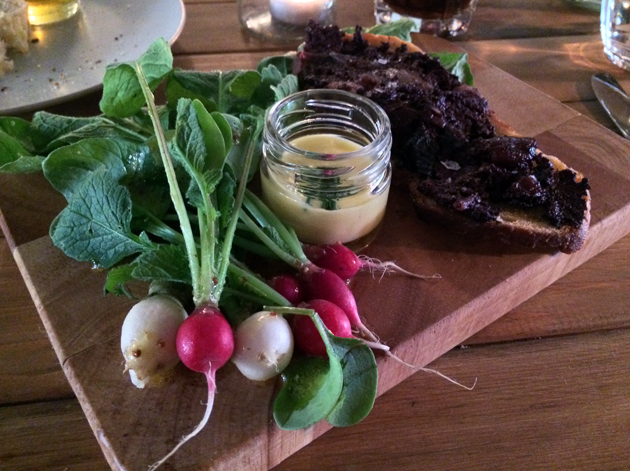 radishes with mayonnaise and black pudding on toast at heirloom crouch end