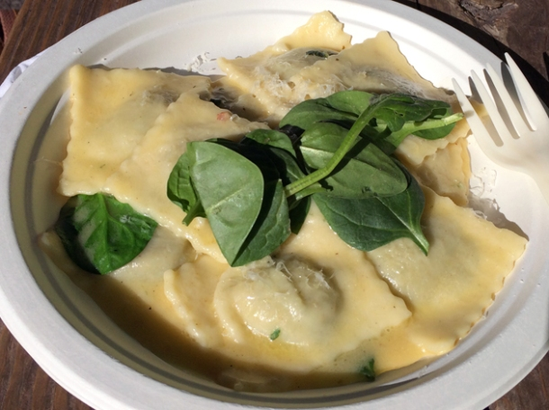 roasted pumpkin ravioli with spinach from pasta e basta
