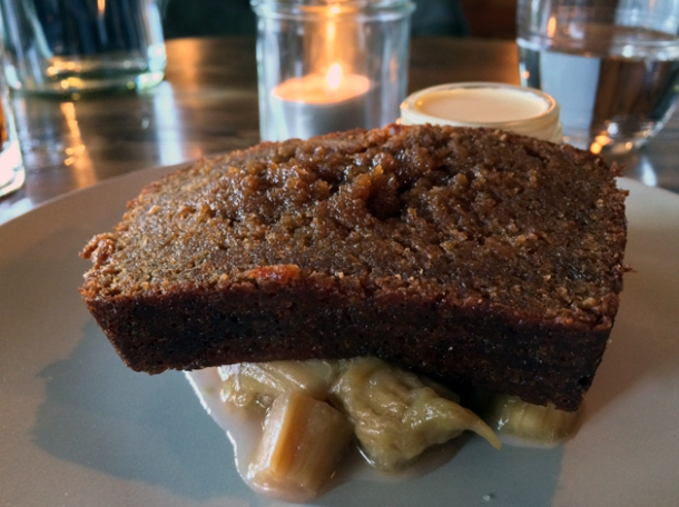 treacle bread with clotted cream and rhubarb at heirloom crouch end
