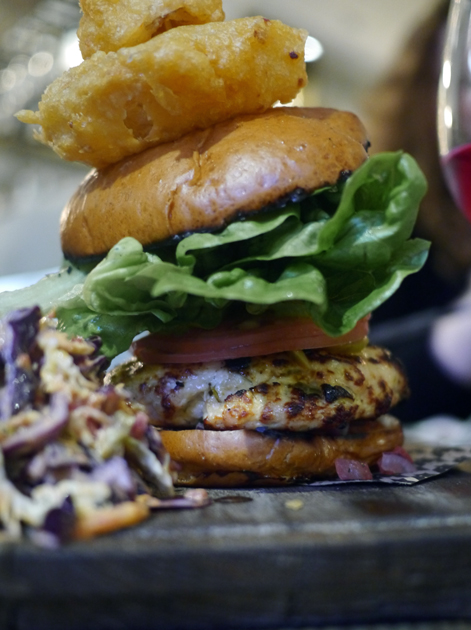 jerk chicken burger at whyte and brown
