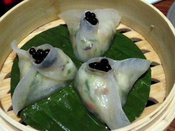 crab dumplings with balsamic pearls at bo lang