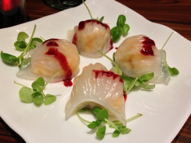 har gau with blackberry reduction at bo lang