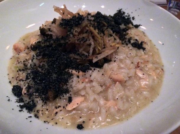 hot smoked salmon and confit garlic risotto at the tapa room