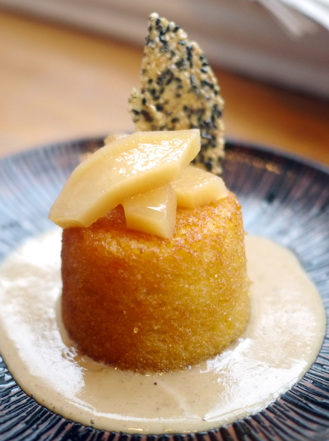 orange potato cake with brittle and custard at the tapa room