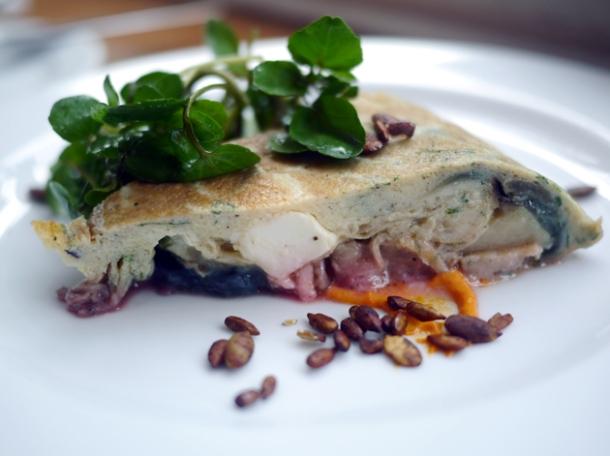purple potato, beet, onion and feta tortilla at the tapa room