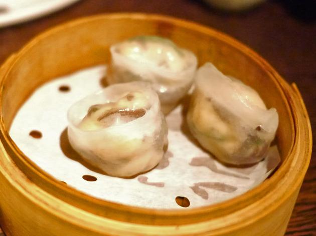 salmon dumplings at shanghai blues