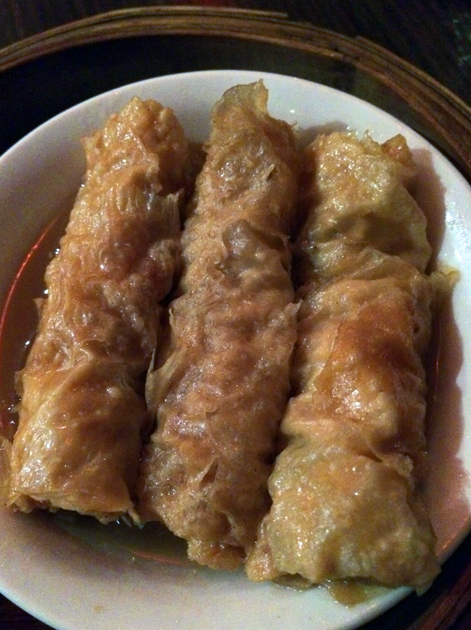 bean curd pork and prawn roll at yum cha silks and spice