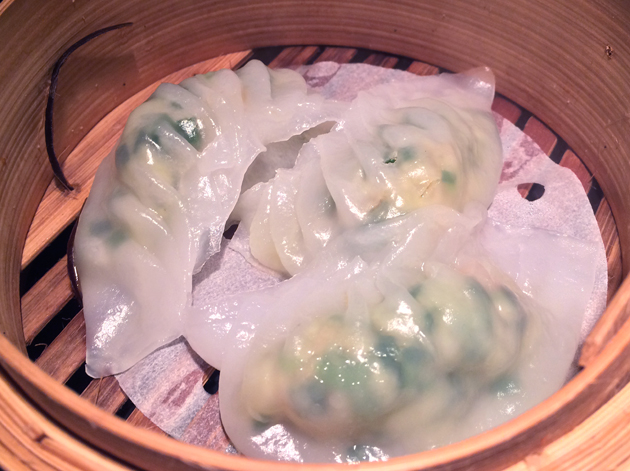 beef and chive dumplings at dim t