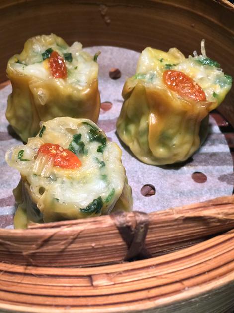 chicken, wasabi and mushroom dumplings at dim t