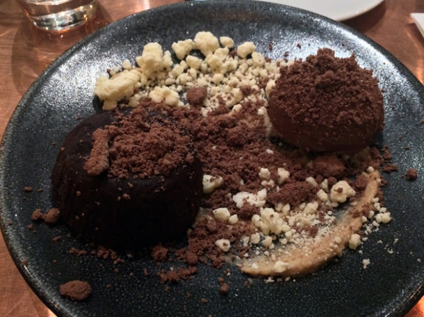 chocolate caramel dessert at sixty four degrees london