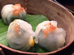 har gau with chive, shiitake and glass noodles at crazy bear