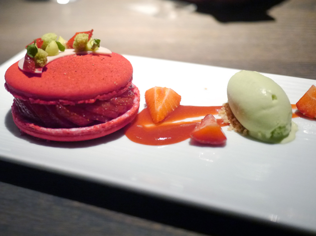 big strawberry macaron with pandan ice cream at yauatcha