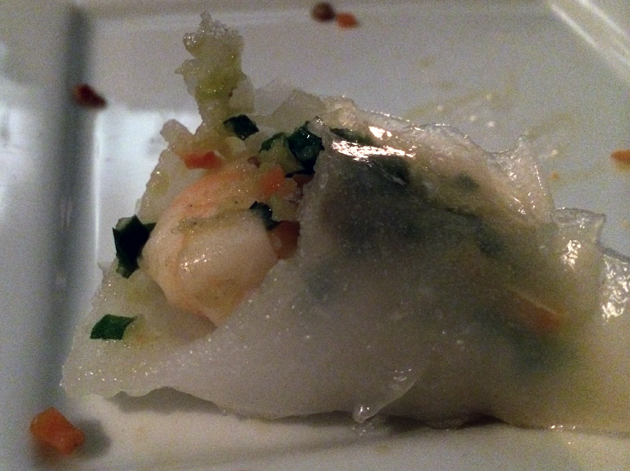 inside leek and prawn dumpling at courtesan