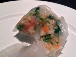 inside scallop and prawn dumpling at dim t