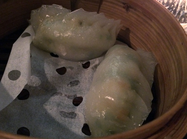 leek and prawn dumplings at courtesan