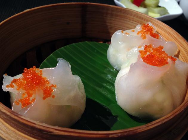 lobster dumplings with tobiko caviar at yauatcha
