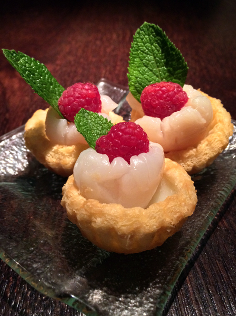 lychee yogurt tarts at plum valley