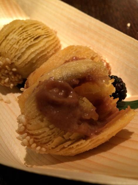 molten chestnut tart filling at plum valley