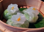 mustard green and edamame dumplings at yauatcha